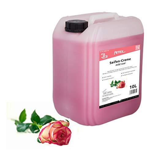 FETEX | Cremeseife 10 Liter | herrlicher Rosen-Duft | dermatologisch getestet | umweltschonende Flüssigseife
