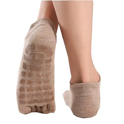 ZSQAW Hombres algodón Yoga Antideslizante empuñaduras Silicona Antideslizante Suela Pilates Danza de Entrenamiento Latino Calcetines de Fitness (Color : Khaki, Size : (UK 6-8.5/US 7-9.5))