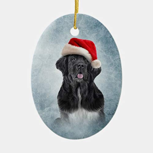 Dog Newfoundland in Red Hat of Santa Claus Ceramic Ornament Christmas Decoration Made in USA