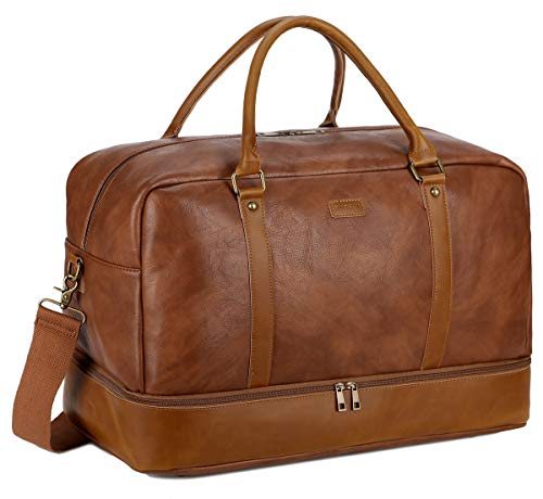 BAOSHA Faux Leather Travel Holdall Carry On Weekender Bag Overnight Travel Duffel Tote Bags for Men and Women with Shoe Compartment HB-38 (Brown)
