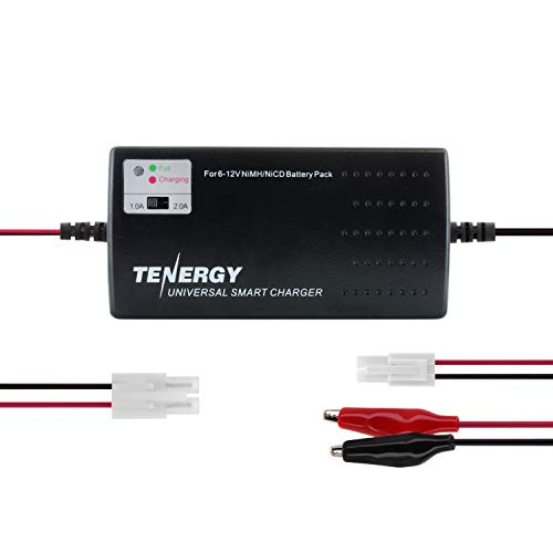 Tenergy Universal RC Battery Charger for NiMH/NiCd 6V-12V Battery Packs, Fast Charger for RC Car, Airsoft Batteries, Compatible with Standard Size Tamiya/Mini Tamiya/Alligator Clips Connectors