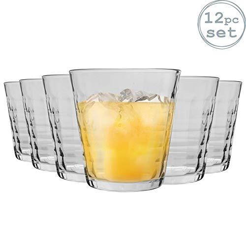 Duralex Prisme - Juego de Vasos Bajos de Colores - para Agua o Zumo - Transparente - 275ml - Pack de 12