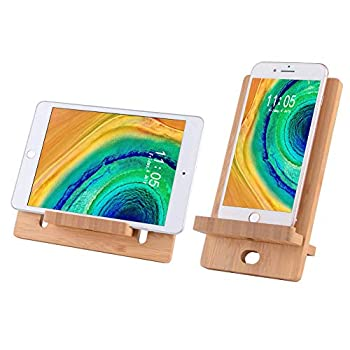 Cell Phone Stand-Bamboo Wooden Desktop Tablet Holder-Desktop Stand Holder Cradle for All iOS & Android Smartphone Tablets iPad iPhone X XS Max XR  4-8 inch