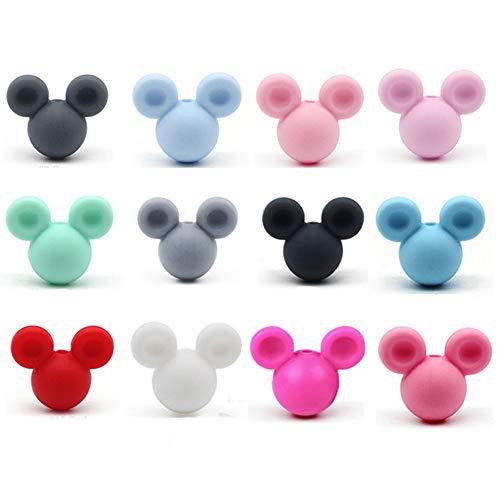 Ruluti Beads De Silicona Mickey 10pcs Baby Teting Beads Masticar Producto Producto De Calidad Silicona Bpa Chupete Libre Colgante Colgante Haciendo (Color Azar)