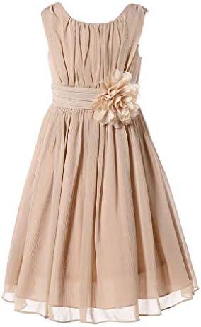 Bow Dream Little Girls Elegant Ruffle Chiffon Summer Flowers Girls Dresses Junior Bridesmaids product image