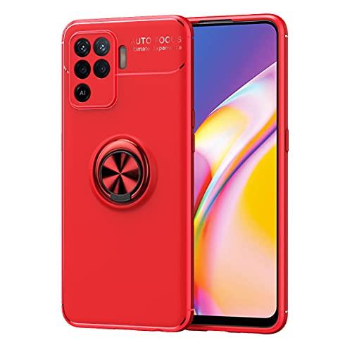LAGUI Funda Adecuado para Redmi Note 10 Pro MAX, Soporte de Montaje Magnético del Coche Carcasa Especial, con Anilla Posterior, Rojo+Rojo