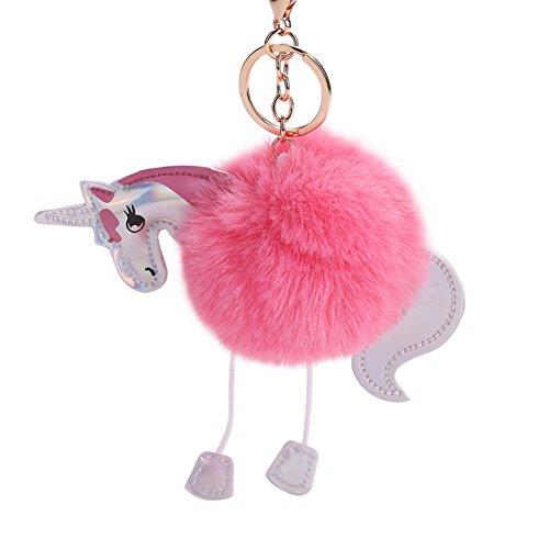 Dosige 1 stuks modieuze persoonlijkheid sleutelhanger creatieve sleutelhanger voor auto sleutelhanger, modieuze sleutelhanger, sleutelhanger, toebehoren van PU-leer van de pruik van pluche, roze 15 x 8 cm