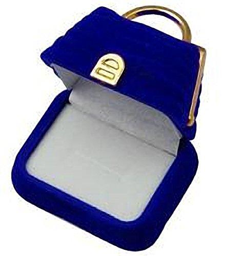 EYS JEWELRY Handtasche Schmuck-Etui für Ring 43 x 55 x 51 mm Samt blau Ring-Box Schachtel Schatulle Geschenk-Verpackung