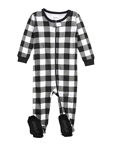 Leveret Kids & Toddler Boys Girls Footed Pajamas 100% Cotton Black & White Plaid (Size 12-18 Months)