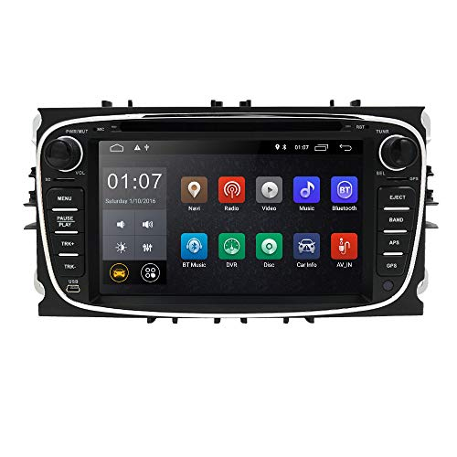 Android 10 OS Auto GPS Navigatie Auto Audio Ontvanger met Geschikt voor FORD Mondeo/Focus/S-Max/C-Max/Galaxy/Kuga/Transit Connect Ondersteuning Spiegel-link Bluetooth Stereo DVR OBD2 DAB+ (Zwart)