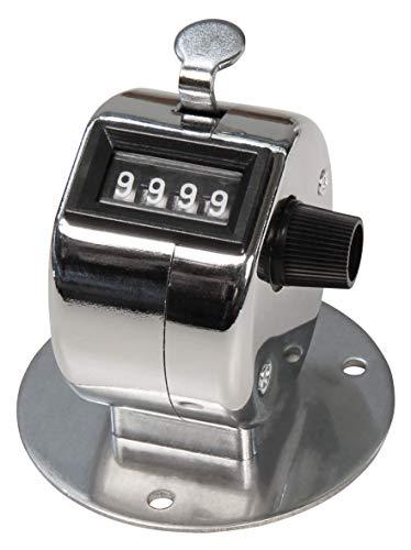 MC POWER - Mechanischer Handzähler | mit Montagefuß, Metallgehäuse, 0-9.999