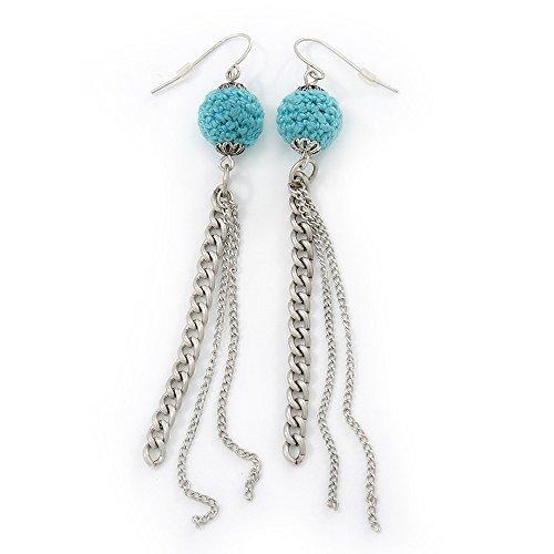 De estilo Retro de largo azul claro cadena de ganchillo pendientes en tono plata - 11 cm, longitud de la