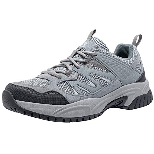 CAMELSPORTS Hiking Shoes Men Lightweight Non-Slip Breathable Sneakers Low Top Walking Shoes for Outdoor Trailing Trekking Walking Climbing Grey/Black