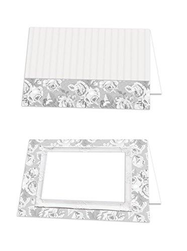 25 stuks edele shabby chic rozen frame grijs wit blanco tafelkaarten naambordjes naamkaartjes plaatskaartjes prijsbordje gereserveerd tafelstandaard - bruiloft communie doop voor elke pen