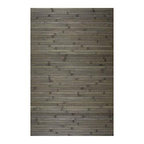 STORESDECO Alfombra de bambú Natural Antideslizante Ideal para salón, Pasillo, baño… ¡Efecto tarima! Disponible en Medidas Grandes y más Colores (120cm x 180cm, Gris)