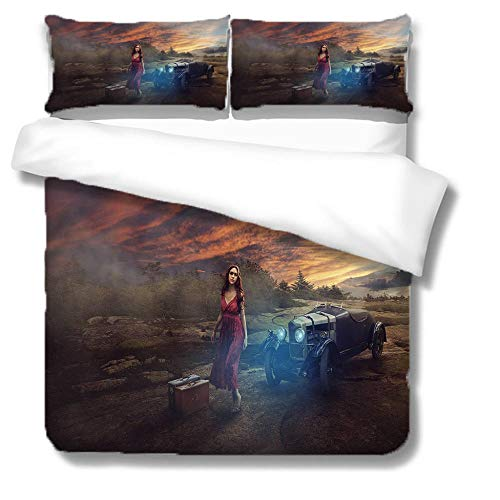 NBSZZDKL Duvet Cover Set King,Modern and creative Printing 3 pcs Bedding Sets with Zipper Closure 230x220cm with 2 Pillow Cover 50x75cm Ultra Soft Hypoallergenic Microfiber Quilt Cover