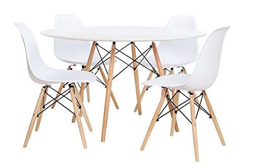 Noorsk Design Conjunto de Mesa 100 + 4 sillas Tower