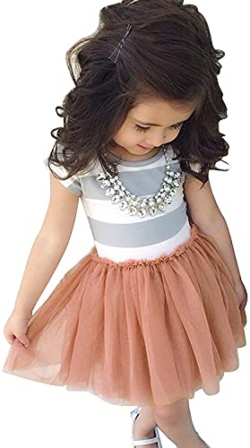 Baby Toddle Girls Tutu Dress Short Sleeves&Sleeveless Stripe Tulle Skirts A-line Dress (Lotus Root Pink, 8T)