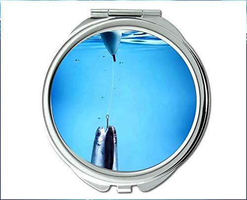 Yanteng Spiegel, Kompaktspiegel, roter Fischmotiv des Taschenspiegels, tragbarer Spiegel 1 X 2X Vergrößerung