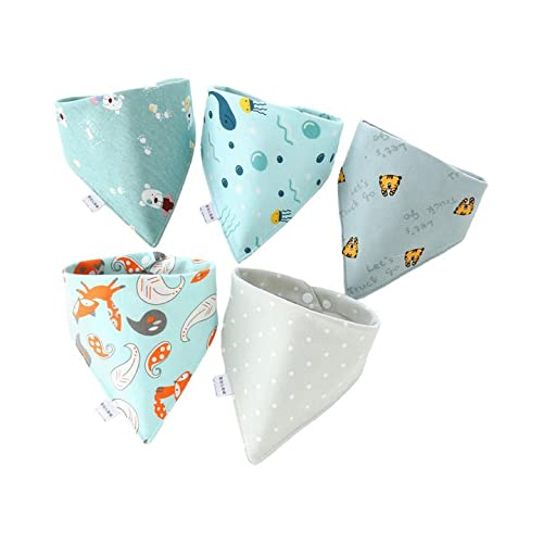 ZL4CH Drool Bibs for Baby Boy 5 Pack Set with Snap Cotton Soft Absorbent Fox Whale
