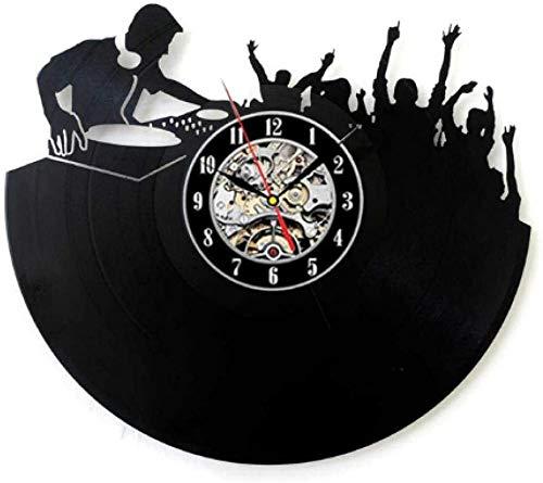 ZZLLL Reloj de Pared de Vinilo Reloj de Registro Reloj Colgante de luz Nocturna 7 Colores claros DJ Música Rock Mural Decoración Retro Habitación en casa Regalo Art Deco