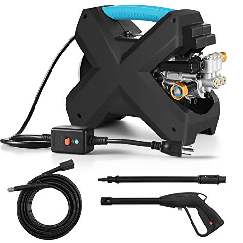 Goplus Mini Electric High Pressure Washer, 2000PSI Handheld Power Cleaner, 1.6 GPM, Compact X-Shaped Cleaning Machine for Deck Patio Car (Blue)