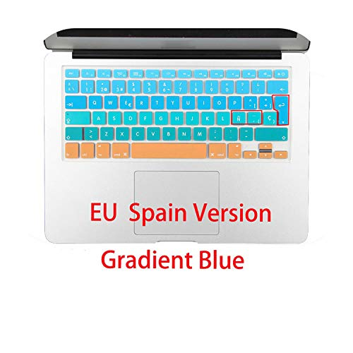 All-Equal French Spanish Eu Uk Soft Silicone Keyboard Cover Protector Skin For Macbook Pro For Air 13 15 17 Retina Cyrillic-Eu Spanish Blue-