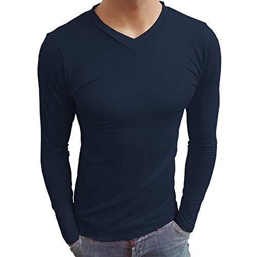 Camiseta Masculina Gola V Rasa Manga Longa cor:azul-marinho;tamanho:gg