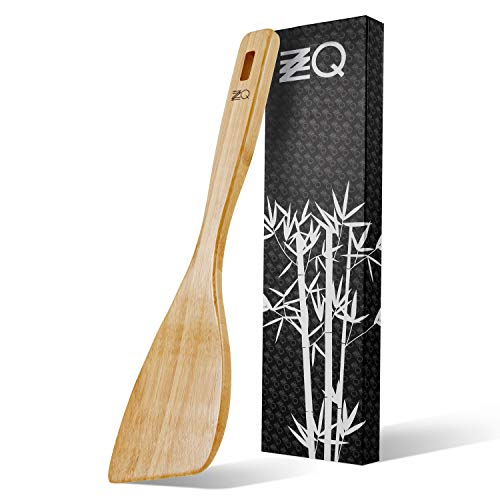 ZZQ Bamboo Wooden Spatula for Nonstick Cookware, Cooking Wood Turner, Angled Spatula Flat Handle, 13 Inch Heat Resistant Kitchen Utensils Stir Fry Wok Tools, Flipper for Pancake Fish Egg