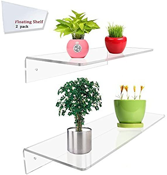 Display4top 2 Pack Of Clear Acrylic Floating Shelf Wall Mounted Display Organizer 12 6 16 6