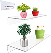 Display4top 2 Pack of Clear Acrylic Floating Shelf Wall Mounted Display Organizer (12×6