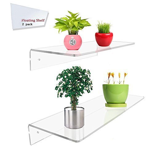Display4top Wandregal aus transparentem Acryl, 30,5 x 15,2 cm, 40,6 x 15,2 cm, 2 Stück