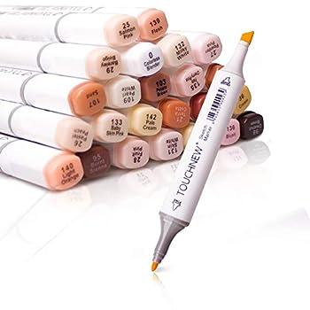 Artist Permanent Sketch Anime Skin Marker Pen Set for Skin Tone Pens TouchNew 24 Color Dual Tip Twin Alcohol Based Marker Set