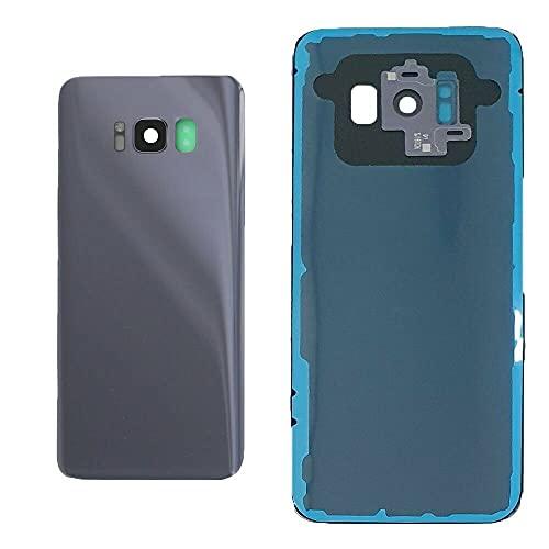 Kit de 3 fundas para batería + adhesivo de doble cara + lente compatible para Samsung Galaxy S8 G950 G950F de repuesto de cristal trasero trasero trasero + carcasa adhesiva + lente de cámara (gris)