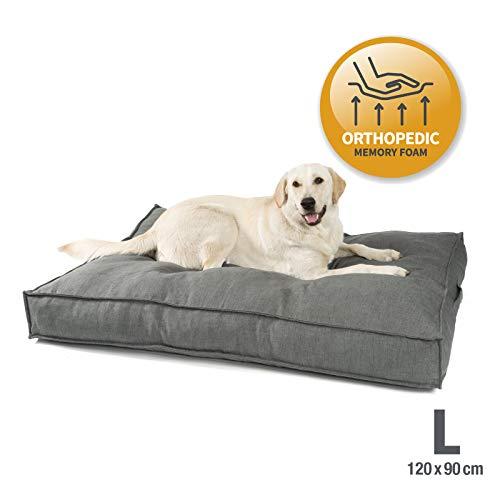 JAMAXX Premium Hundekissen in edler Leinen-Optik - Orthopädisch Memory Visco Schaumstoff - Waschbar Abnehmbarer Bezug - Wasserabweisender Innenbezug - Hundebett PDB1005 (L) 120x90 Grey