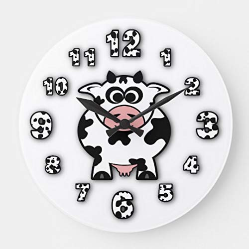 AmyyEden Wanduhren Kuh, modern, groß, dekorativ für Wohnzimmer, Küche, Schlafzimmer, Badezimmer, Zuhause, Büro, 30,5 cm