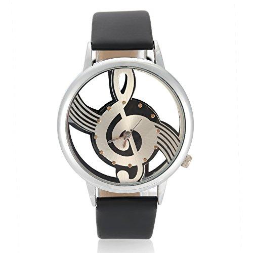 TMISHION Pareja Reloj Cuarzo Moda Deporte Estilo Analógico Redondo Hueco Nota Musical Dial PU Correa Reloj de Pulsera Regalo para su Persona Especial 2 Colores (Negro/Blanco)(Negro)