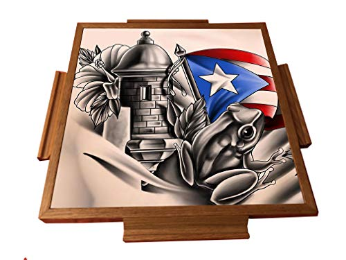 latinos r us Puerto Rico Simbolo Boricua Domino Table Top (Natural)