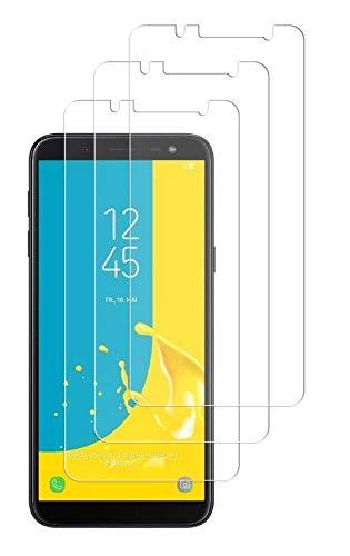 WEOFUN Lot de 3 films de protection d'écran en verre trempé pour Samsung Galaxy J6 2018, dureté 9H, anti-rayures, anti-huile, anti-bulles, film de protection d'écran HD