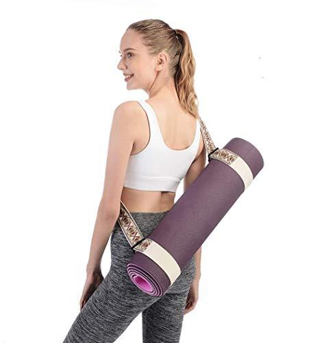 Jacqaurd1 - Correa de transporte para esterilla de yoga, diseño étnico, algodón orgánico, extra grueso (2 diseños)