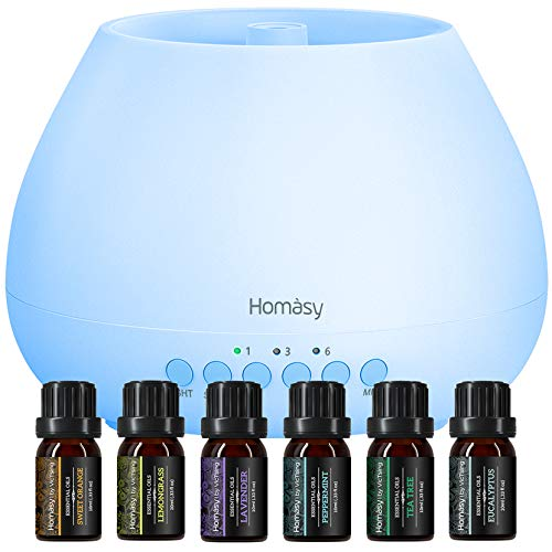 Homasy 500mL Aroma diffuser mit 6er ätherische Öle Set, 8-Farben-Nachtlicht mit Timer-Einstellung,BPA-frei Duftlampe duftender Luftbefeuchter mit für Schlafzimmer, Wohnzimmer, Küche-Weiß