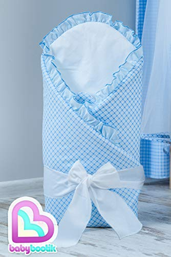 Baby Comfort Bébé/Nouveau-né Couverture d'emmaillotage/couette - Carreaux Bleu