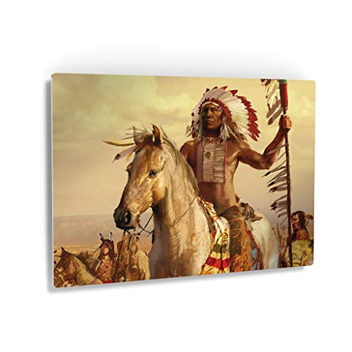 Indian Wall Art Native American Riding a White Horse Metal Print Living Room Bedroom Wall Metal Decor Home Decor Decorative Artwork Gallery Ready to Hang Made in USA - 20x30