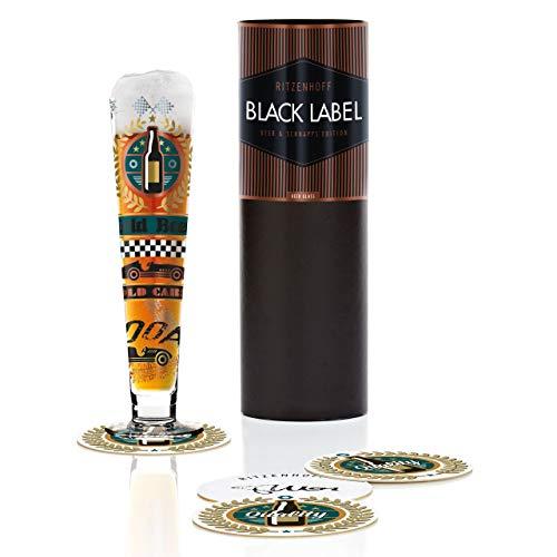 RITZENHOFF Black Label Bierglas von Thomas Marutschke, aus Kristallglas, 300 ml, mit fünf Bierdeckeln