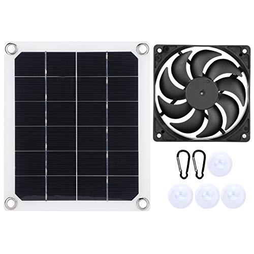 Panel solar, 10 vatios 6 voltios Monocristalino Módulo de energía fotovoltaica con extractor de aire, Cargador solar Mini ventilador para jaula para mascotas Caravana Aplicaciones fuera de la red
