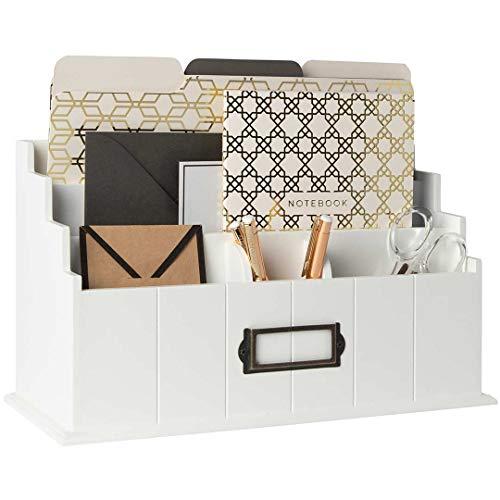 Blu Monaco White Wooden Mail Organizer - 3 Tier White Desk Organizer - Rustic Country Mail Sorter - Kitchen Countertop Organizer Mail Basket