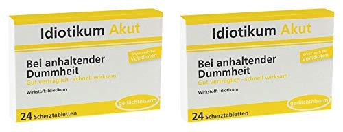 Idiotikum Akut Scherztabletten Schokolinsen 2er Set - Bei anhaltender Dummheit