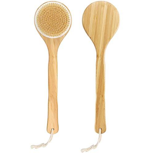 Spazzole da bagno, Spazzola da Corpo con Setole di Cinghiale Naturali e manico in Bambù Massaggio Esfoliante Scrubber per la schiena Doccia confortevole