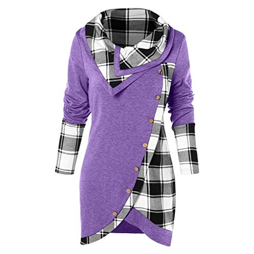 Blouses for Womens, FORUU St. Patrick's Day Clover Ladies Sales 2020 Under 10 Valentine's Day Best Gift for Girlfriend Long Sleeve Plaid Turtleneck Tartan Tunic Sweatshirt Pullover Tops
