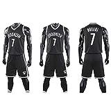 YUNAN - Traje de baloncesto Brooklyn Nets #7 Kevin Durant Swingman Uniforme, para hombre y niño, parte superior Dri-fit + pantalones cortos para ejercicio y ropa casual-negro-XXL